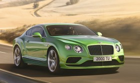 Photo de l'extérieur de la Bentley Continental GT Speed 2016, l'avant du véhicule.